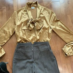 Suzy Shier satin gold button down shirt blouse